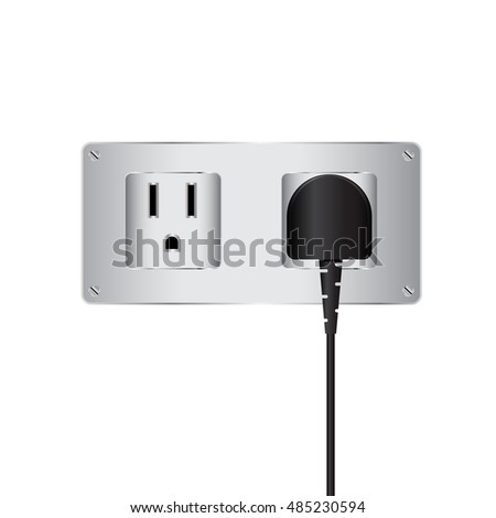 Vector electric plug and outlet