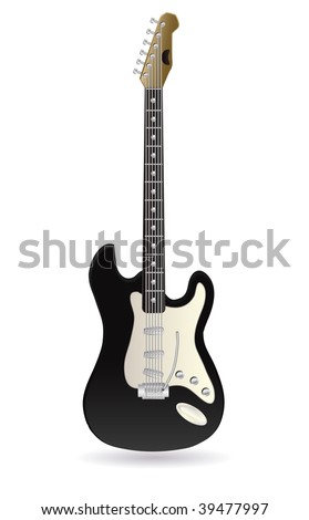vector electric rock guitar on white