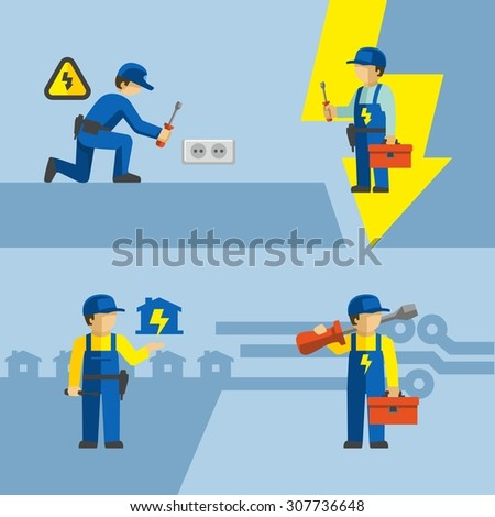 Vector Electrician Worker With Tools Installing Wall Socket  - stock vector