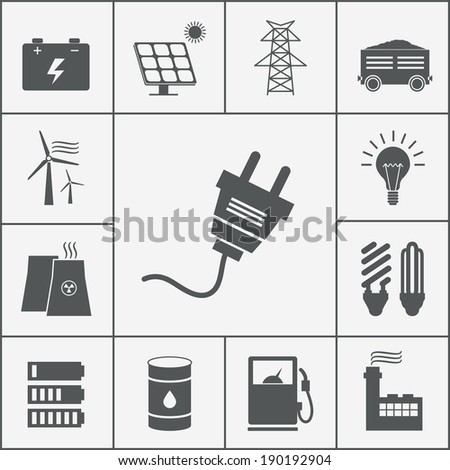 Vector Electricity and Power icon set, ecological and traditional energy sources - stock vector