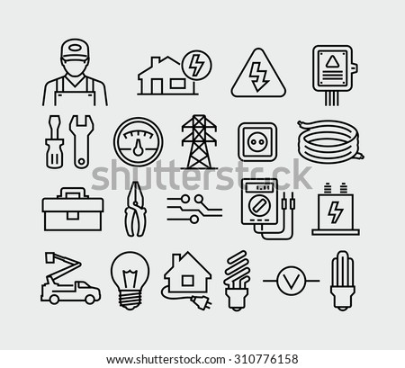 Vector Electricity outline icons  - stock vector