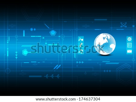vector electronic interface technology, global future connection background