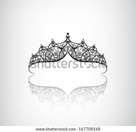 vector elegant decorated vintage crown logo, icon with detailed ornaments isolated - stock vector