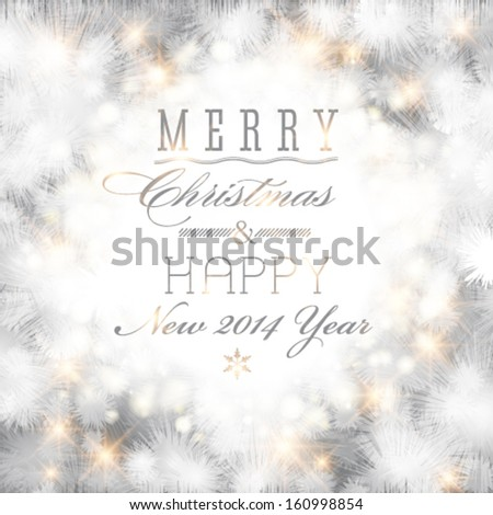 Vector elegant glittery Merry Christmas and Happy New Year card design. Perfect as invitation or announcement. - stock vector