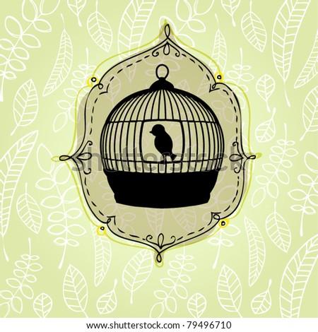 vector elegant nature background with birdcage - stock vector