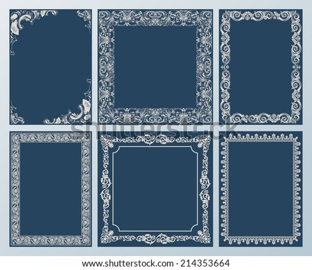 Vector elegant set. Ornate frames and vintage scroll elements black - stock vector