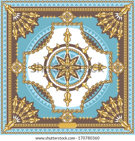 vector elegant square pattern, fashion head scarf design with gold chains, blue and gold - stock vector