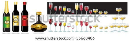 vector elegant wine glasses and wine layout, dad and night. - stock vector
