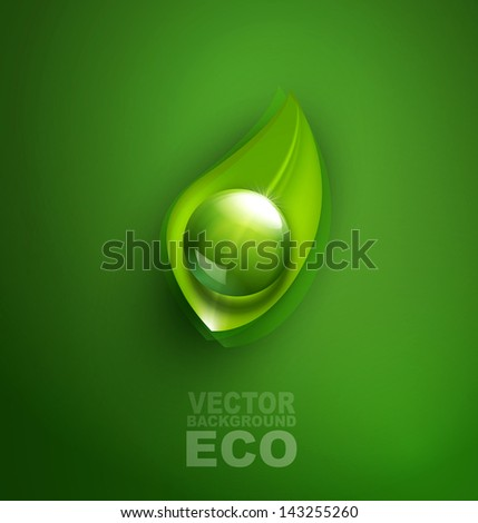 vector element for ecological design with a leaf and a drop of - stock vector