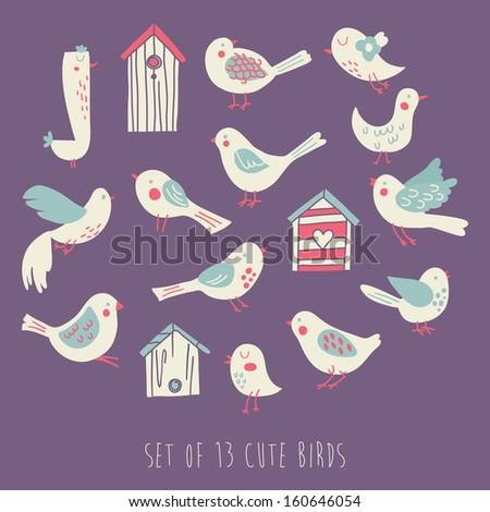 Vector element set of 13 cute birds - stock vector