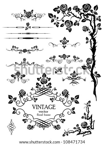 Vector elements and page decoration with roses - stock vector