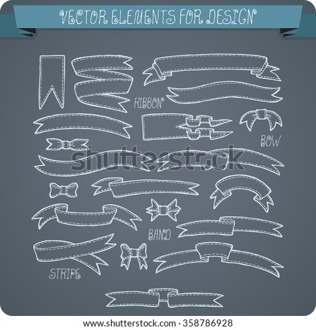 Vector elements for design. Ribbons, bows, bands, banners. - stock vector