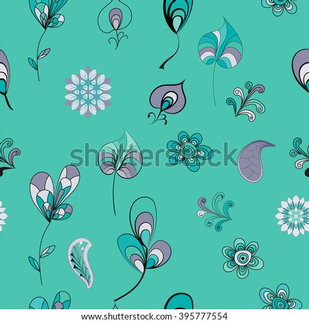 Vector elements for graphic works - leaves, flowers, branches, decoration.. Seamless pattern