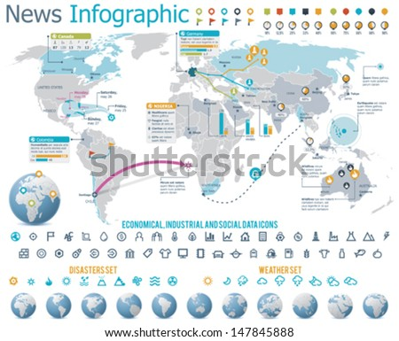 Vector elements for news infographic. Set Includes World map, Earth globes showing different parts of the planet and related icons - stock vector