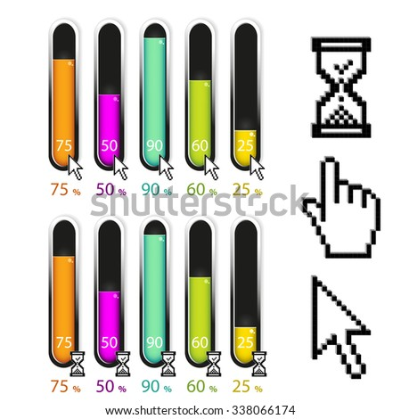 Vector elements infographics, diagram with pixel cursors of arrow and hourglass cursor, simple colorful graph percent, 5 step timeline indicator, bar graph, chart process steps - stock vector