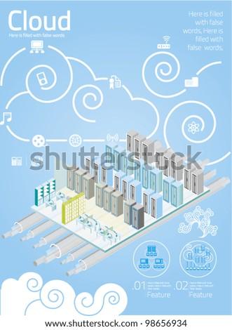 vector elements set of Cloud Computing info graphics - stock vector