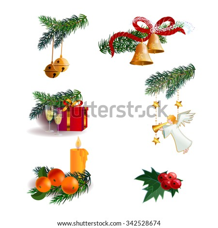 Vector elements that can be used as templates for Christmas greeting cards.