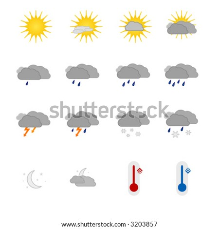 Vector elements, weather icons set