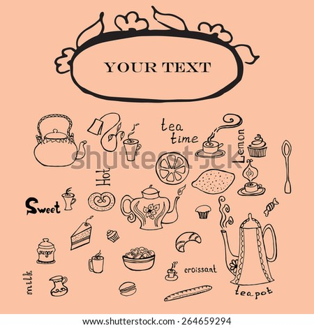Vector elements with  tea cups, teapots and cakes  in graphic style. - stock vector