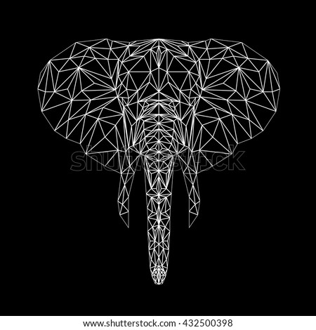 Vector elephant thin line style.  Elephant low poly design illustration. Abstract mammal animal. Elephant face silhouette for printing on t-shirts. - stock vector