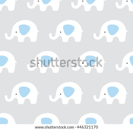 Vector elephants pattern. Cute elephant seamless background. Blue, gray and white pattern.  - stock vector
