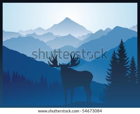 vector elk in mountains - stock vector