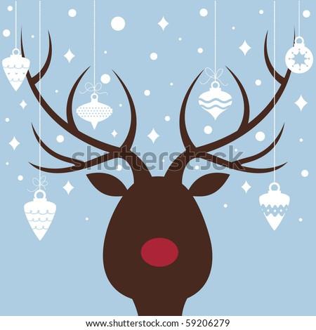 vector elk of christmas card - stock vector