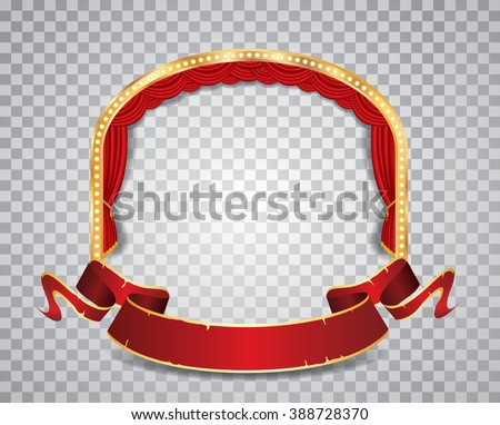 vector ellipse stage with red curtain, golden frame, bulb lamps blank grunge banner and transparent shadow - stock vector