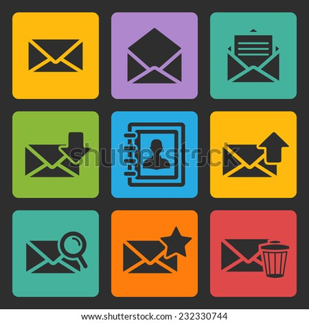 Vector email black icons set on a color square - stock vector