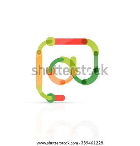 Vector email business symbol, or at sign logo. Linear minimalistic flat icon design, multicolored segments of lines