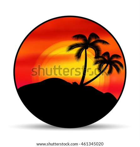 Vector Emblem Badge Summer Vacation With Sunset And Palm Trees