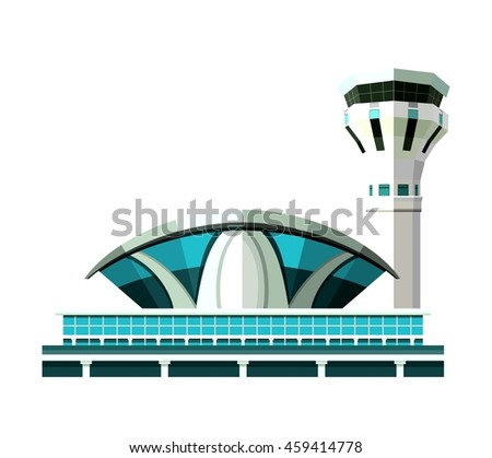vector emblem, design element, the airport building isolated on white background - stock vector