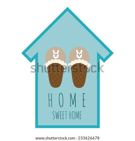 vector emblem home sweet home - stock vector