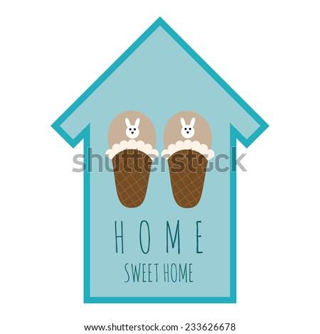 vector emblem home sweet home - stock vector