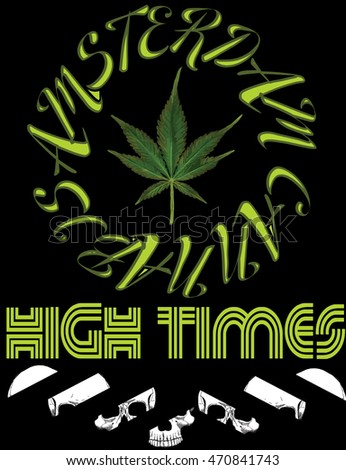 Vector emblem icon marijuana. High Times typography Hemp logo illustration for the use of printing on t-shirts, logos, labels, posters, trading stamps. Natural hemp product in flat style.