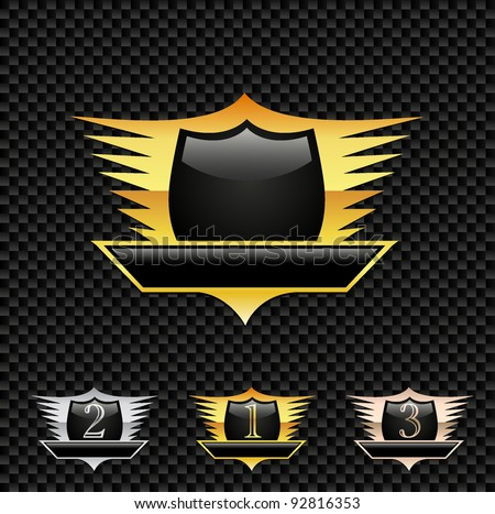 Vector Emblem / Medals -  on the Carbon background. Eps8 - stock vector