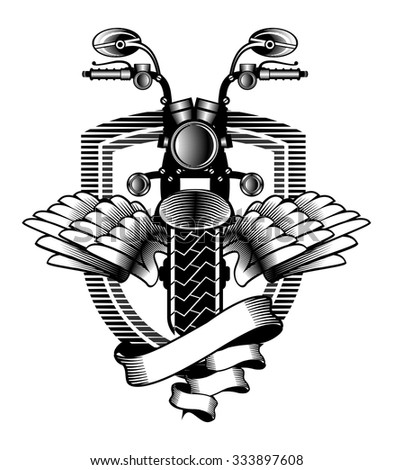 vector emblem motorcycle Steam punk on a background - stock vector