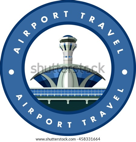 vector emblem round shape, design element, the airport building - stock vector