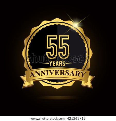 vector emblem 55th anniversary logo with ribbon golden colored and shiny badge