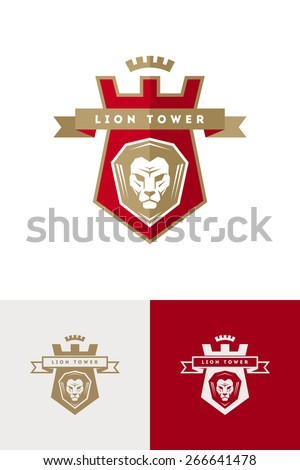 Vector emblem with lion head - stock vector