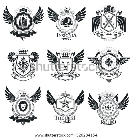 Vector emblems, vintage heraldic designs. Coat of Arms collection, vector set.