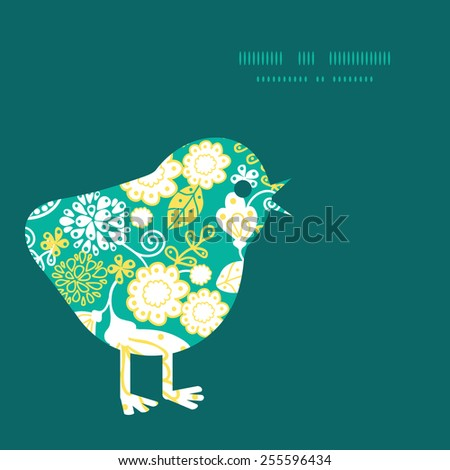 Vector emerald flowerals chicken silhouette Easter frame