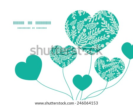 Vector emerald green plants heart symbol frame pattern invitation greeting card template