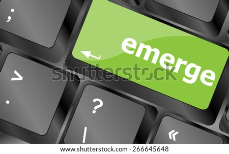 vector emerge word on keyboard key, notebook computer button - stock vector