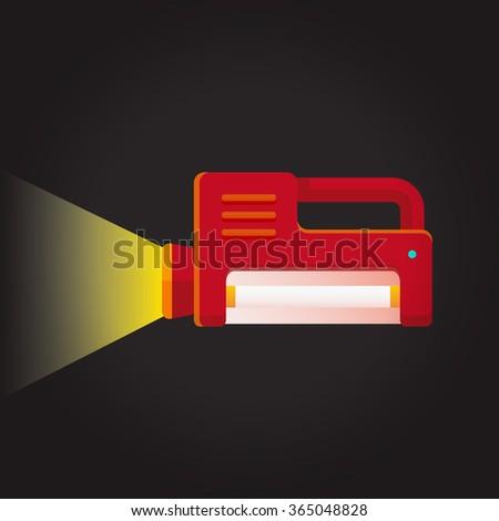 vector emergency light fixture / flashlight / flat, icon, long shadow / lighting up the dark - stock vector