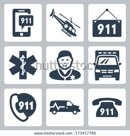 Vector emergency service icons set - stock vector