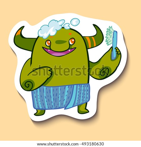 Vector emotion sticker with washing cute monster on yellow background. Monster takes a bath. Have a bath.