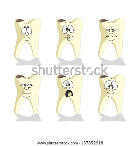 Vector. Emotion tooth cartoon set 008 - stock vector