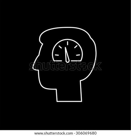 Vector emotoin regulation skills icon of speedometer in brain   modern flat design soft skills linear illustration and infographic white on black background - stock vector