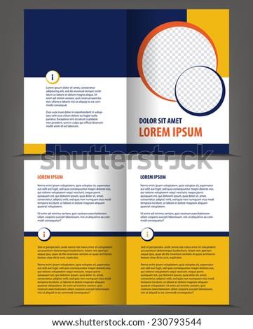 Vector empty bi-fold brochure design print template - stock vector